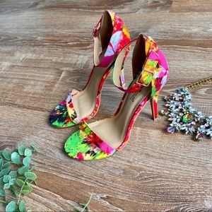 Anne Michelle Red Multi Colored Heels